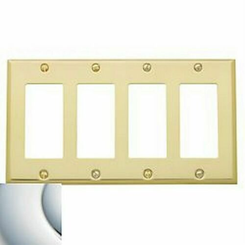 Baldwin 4742260 Quadruple Rocker Beveled Switch Plate Bright Chrome Finish