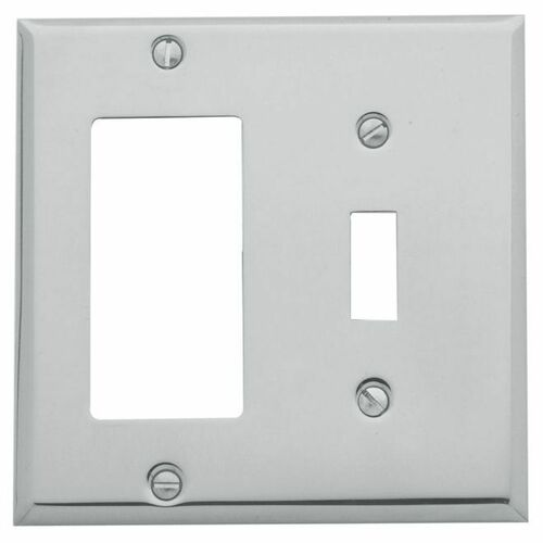 Baldwin 4743260 Single Rocker and Toggle Beveled Switch Plate Bright Chrome Finish