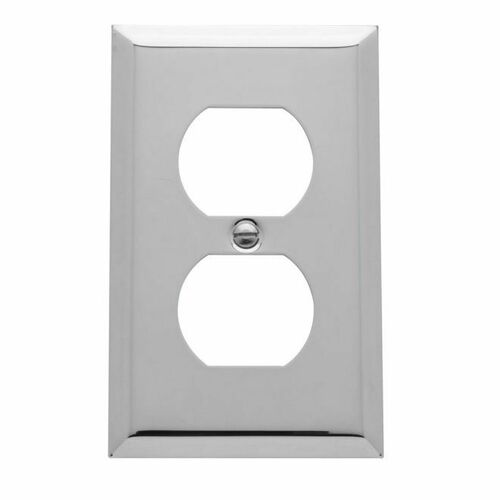 Baldwin 4752260 Single Outlet Beveled Switch Plate Bright Chrome Finish