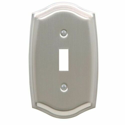 Baldwin 4756150 Single Toggle Colonial Switch Plate Satin Nickel Finish