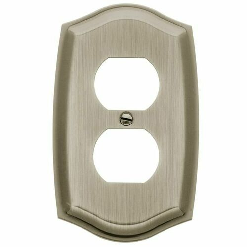 Baldwin 4757150 Single Outlet Colonial Switch Plate Satin Nickel Finish