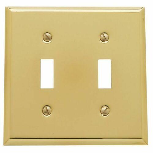 Baldwin 4761030 Double Toggle Beveled Switch Plate Bright Brass Finish