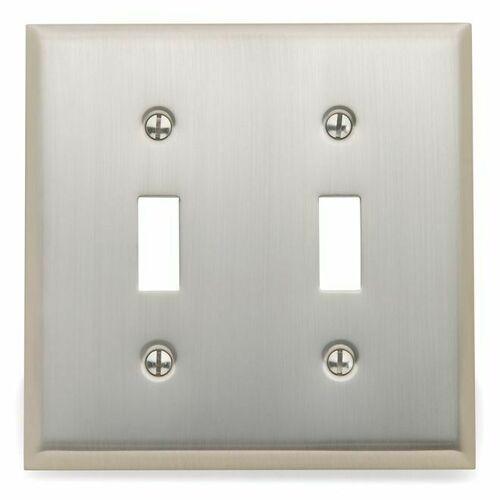 Baldwin 4761150 Double Toggle Beveled Switch Plate Satin Nickel Finish