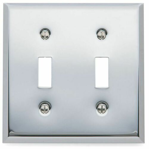 Baldwin 4761260 Double Toggle Beveled Switch Plate Bright Chrome Finish