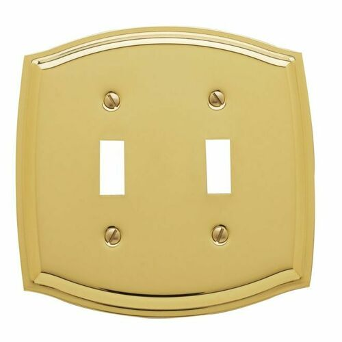 Baldwin 4766030 Double Toggle Colonial Switch Plate Bright Brass Finish