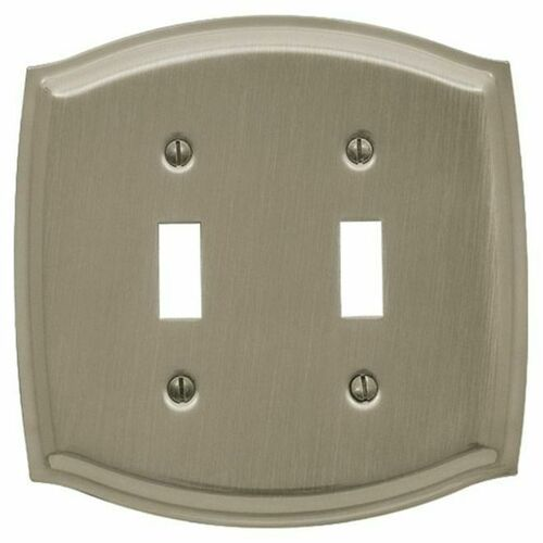 Baldwin 4766150 Double Toggle Colonial Switch Plate Satin Nickel Finish