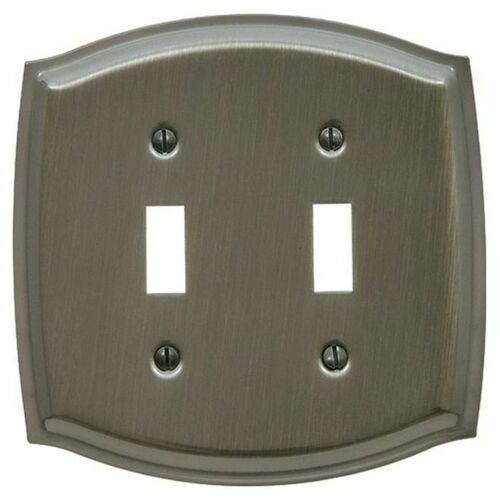 Baldwin 4766151 Double Toggle Colonial Switch Plate Antique Nickel Finish