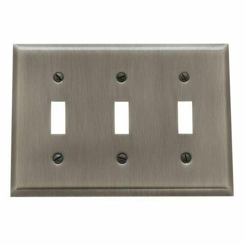Baldwin 4770151 Triple Toggle Beveled Switch Plate Antique Nickel Finish