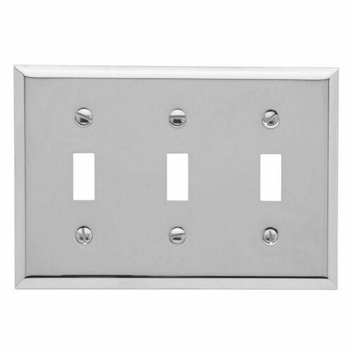 Baldwin 4770260 Triple Toggle Beveled Switch Plate Bright Chrome Finish