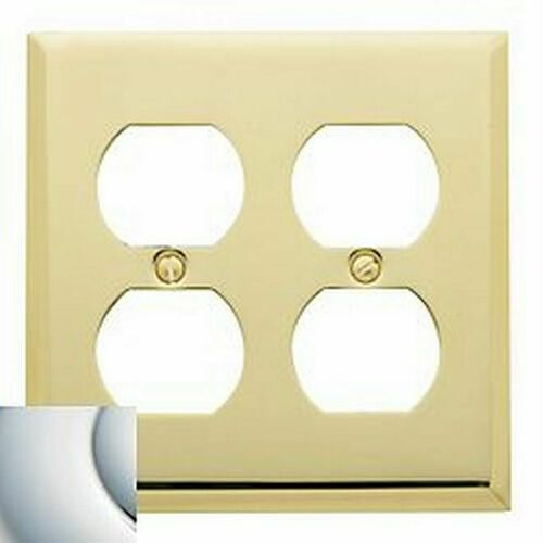 Baldwin 4771260 Double Outlet Beveled Switch Plate Bright Chrome Finish