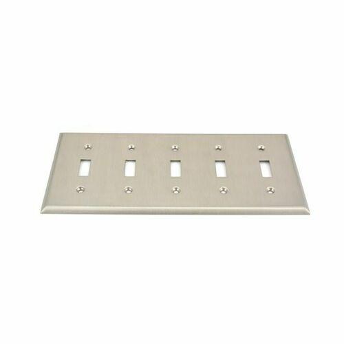 Baldwin 4775150 5 Toggle Beveled Switch Plate Satin Nickel Finish
