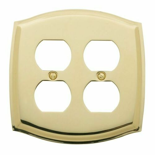 Baldwin 4781030 Double Outlet Colonial Switch Plate Bright Brass Finish