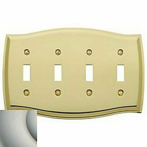 Baldwin 4782150 Quadruple Toggle Colonial Switch Plate Satin Nickel Finish