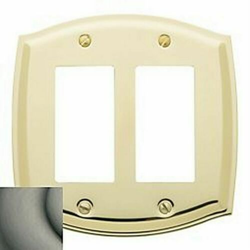 Baldwin 4787151 Double Rocker Colonial Switch Plate Antique Nickel Finish