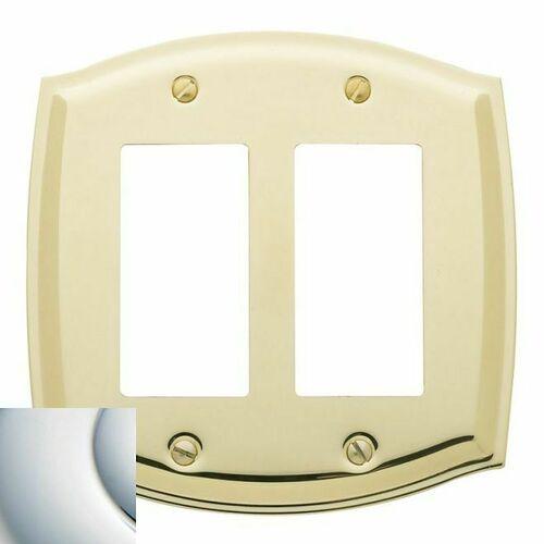 Baldwin 4787260 Double Rocker Colonial Switch Plate Bright Chrome Finish