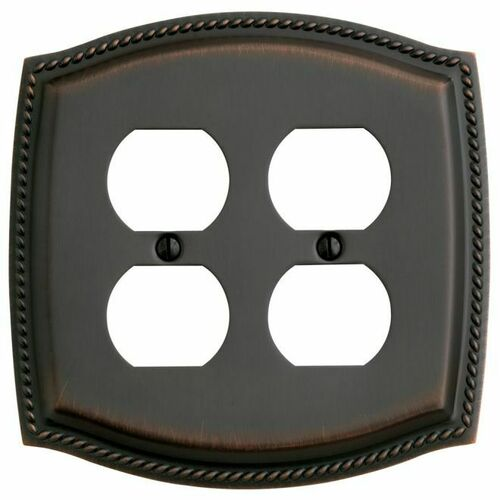 Baldwin 4794112 Double Outlet Rope Switch Plate Venetian Bronze Finish