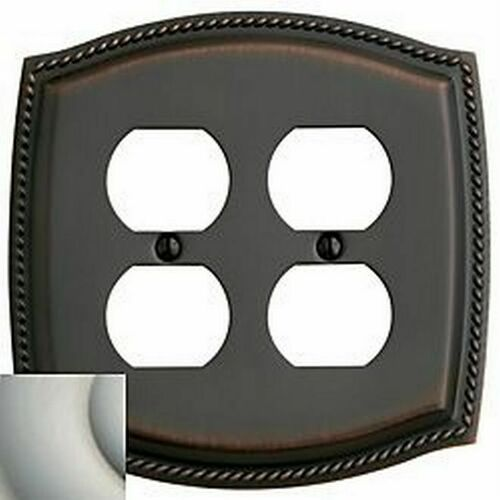 Baldwin 4794150 Double Outlet Rope Switch Plate Satin Nickel Finish