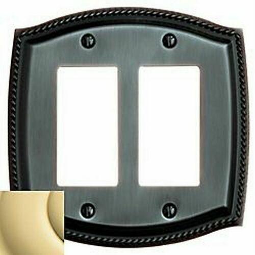 Baldwin 4797030 Double Rocker Rope Switch Plate Bright Brass Finish