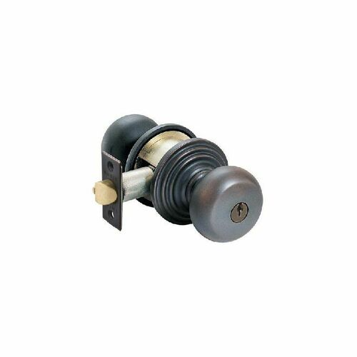 Emtek 5100PUS10B Providence Knob Keyed Entry With Regular Rose And Adjustable Latch Oil Rubbed Bronze Finish
