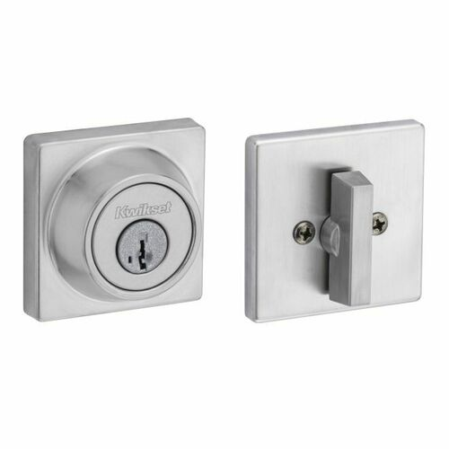 Kwikset 660SQT-26DS Single Cylinder Square Deadbolt SmartKey with RCAL Latch and RCS Strike Satin Chrome Finish