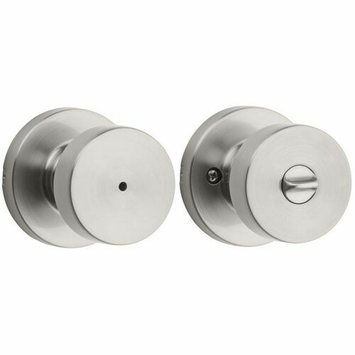 Kwikset 730PSKRDT-15 Pismo Knob with Round Rose Privacy Lock with 6AL Latch and RCS Strike Satin Nickel Finish