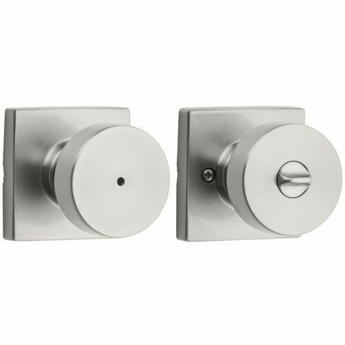 Kwikset 730PSKSQT-15 Pismo Knob with Square Rose Privacy Lock with 6AL Latch and RCS Strike Satin Nickel Finish