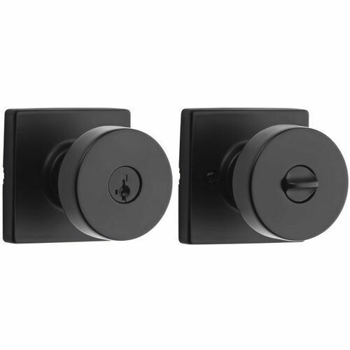 Kwikset 740PSKSQT-514S Pismo Knob with Square Rose Entry Lock SmartKey with 6AL Latch and RCS Strike Iron Black Finish