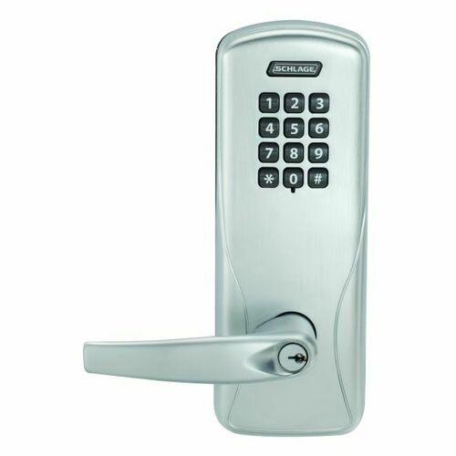 Schlage CO200CY70KPATH626 Standalone Electronic Lock with Rights on Lock Cylindrical Classroom / Storeroom Keypad Athens Lever with 13247 Latch and...