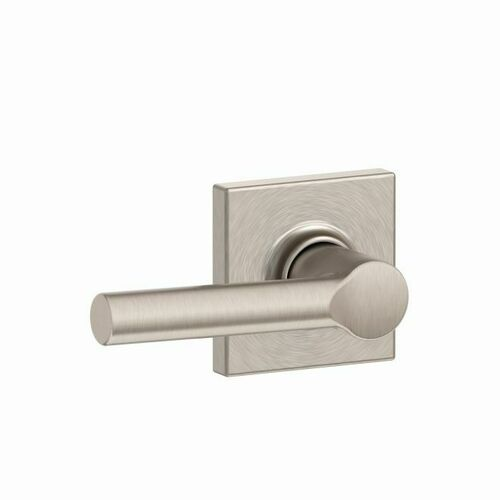 Schlage F10BRW619COL Broadway Lever with Collins Rose Passage with 16080 Latch and 10027 Strike Satin Nickel Finish