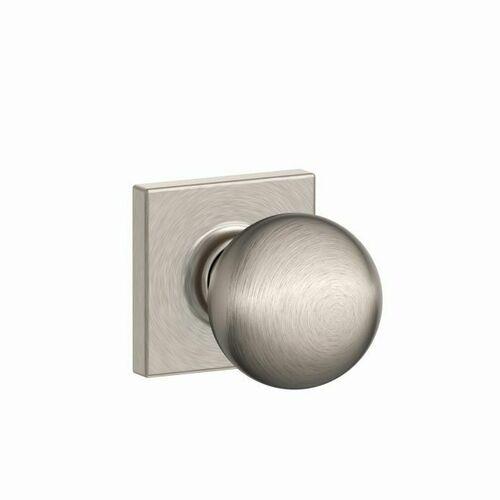 Schlage F10ORB619COL Orbit Knob with Collins Rose Passage Lock with 16080 Latch and 10027 Strike Satin Nickel Finish