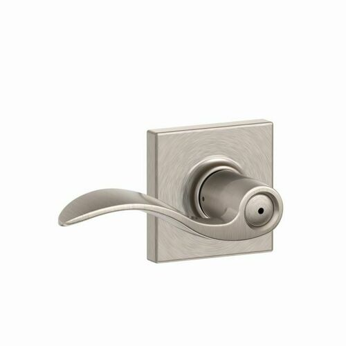 Schlage F40ACC619COL Accent Lever with Collins Rose Privacy with 16080 Latch and 10027 Strike Satin Nickel Finish