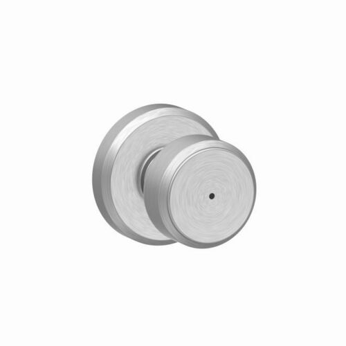Schlage F40BWE626GSN Bowery Knob with Greyson Rose Privacy Lock with 16080 Latch and 10027 Strike Satin Chrome Finish