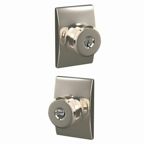 Schlage F51ABWE618CEN Bowery Knob with Century Rose Keyed Entry Lock C Keyway with 16086 Latch and 10027 Strike Bright Nickel Finish