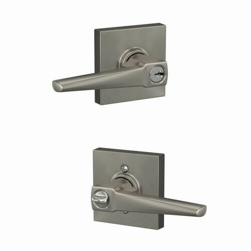 Schlage F51AELR619COL Eller Lever with Collins Rose Keyed Entry Lock C Keyway with 16086 Latch and 10027 Strike Satin Nickel Finish