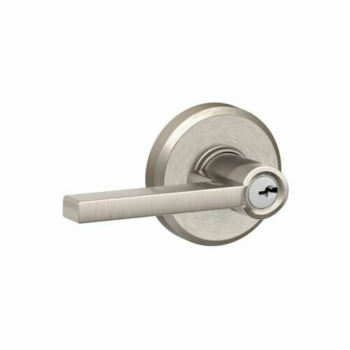 Schlage F51ALAT619GSN Latitude Lever with Greyson Rose Keyed Entry Lock C Keyway with 16211 Latch and 10063 Strike Satin Nickel Finish