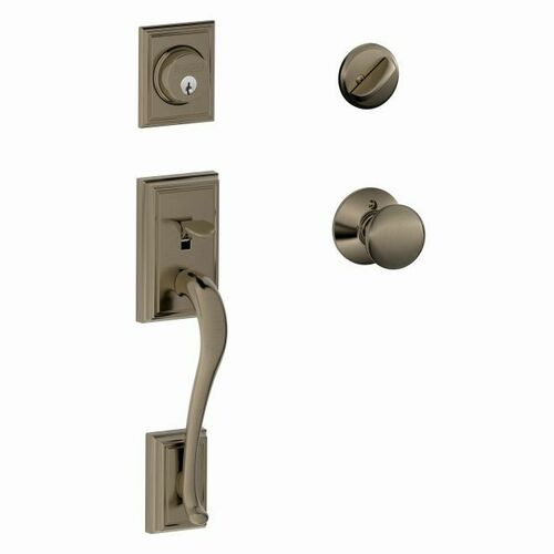 Schlage F60ADD620PLY Addison Exterior Active Handleset C Keyway with Plymouth Knob Interior Active Trim with 12326 Latch and 10269 Strikes Antique ...