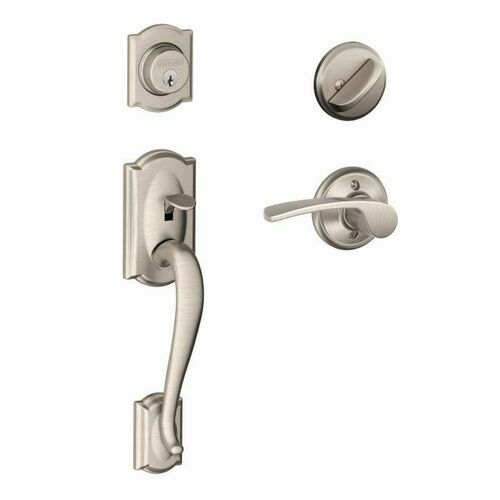 Schlage F60CAM619MERRH Camelot Exterior Active Handleset C Keyway with Right Hand Merano Lever Interior Active Trim with 12326 Latch and 10269 Stri...
