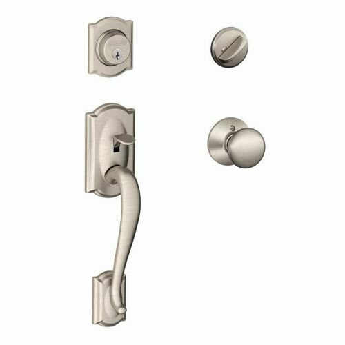 Schlage F60CAM619PLY Camelot Exterior Active Handleset C Keyway with Plymouth Knob Interior Active Trim with 12326 Latch and 10269 Strikes Satin Ni...