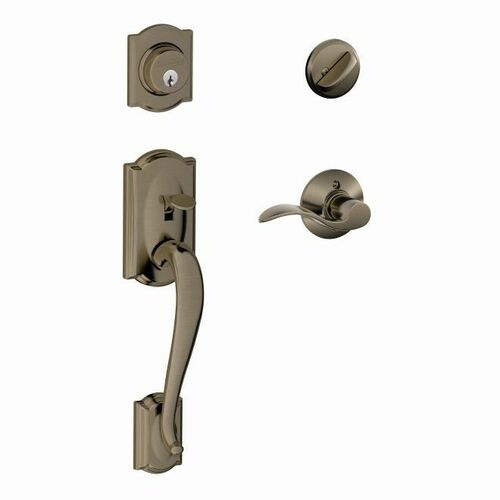 Schlage F60CAM620ACCRH Camelot Exterior Active Handleset C Keyway with Right Hand Accent Lever Interior Active Trim with 12326 Latch and 10269 Stri...