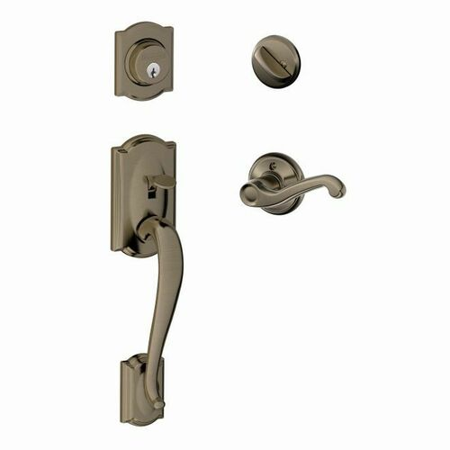 Schlage F60CAM620FLALH Camelot Exterior Active Handleset C Keyway with Left Hand Flair Lever Interior Active Trim with 12326 Latch and 10269 Strike...