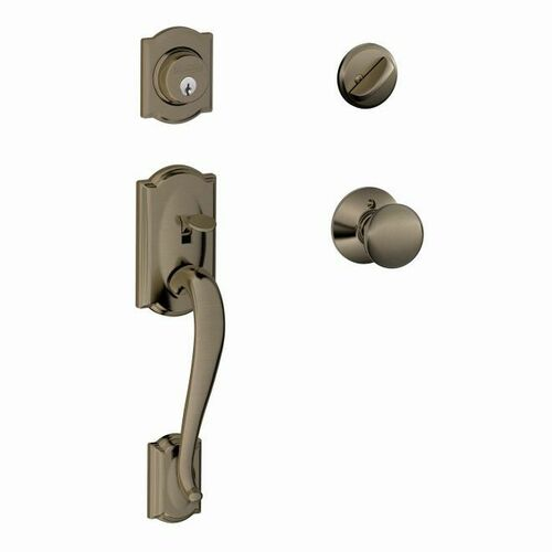 Schlage F60CAM620PLY Camelot Exterior Active Handleset C Keyway with Plymouth Knob Interior Active Trim with 12326 Latch and 10269 Strikes Antique ...