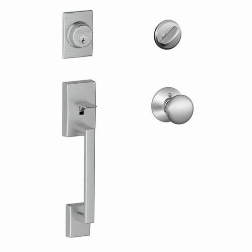 Schlage F60CEN626PLY Century Exterior Active Handleset C Keyway with Plymouth Knob Interior Active Trim with 12326 Latch and 10269 Strikes Satin Ch...