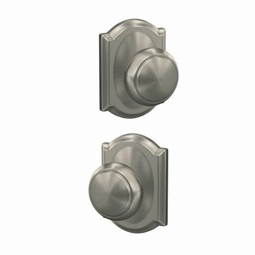 Schlage FC172AND619CAM Andover Knob with Camelot Rose Non Turning Dummy Lock Satin Nickel Finish