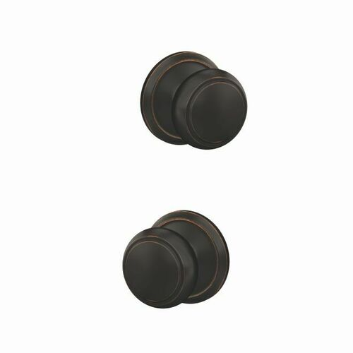 Schlage FC172AND716ALD Andover Knob with Alden Rose Non Turning Dummy Lock Aged Bronze Finish