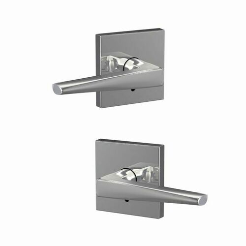 Schlage FC172ELR625COL Eller Lever with Collins Rose Non Turning Dummy Lock Bright Chrome Finish