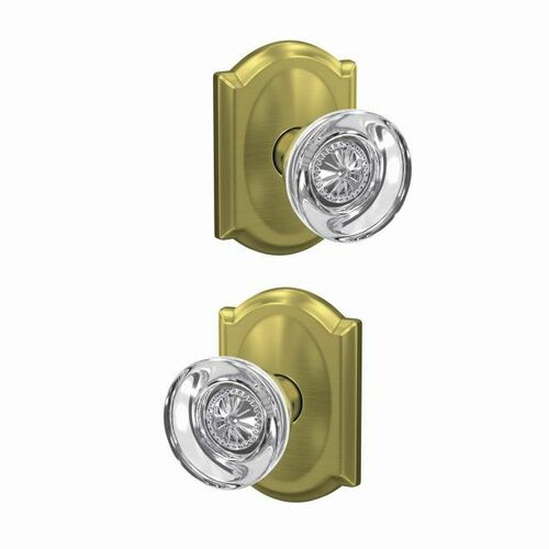 Schlage FC172HOB608CAM Hobson Knob with Camelot Rose Non Turning Dummy Lock Satin Brass Finish