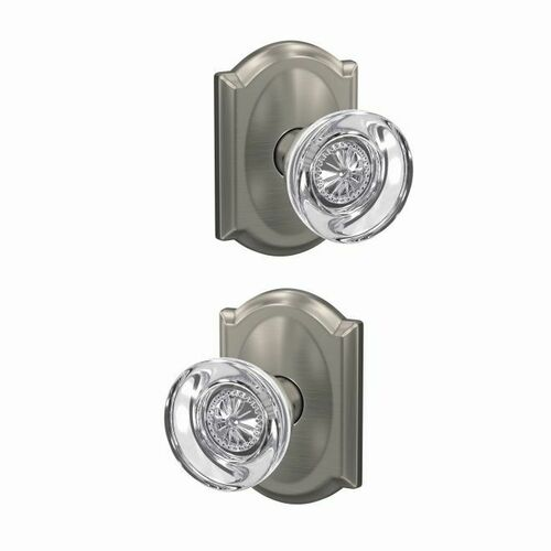 Schlage FC172HOB619CAM Hobson Knob with Camelot Rose Non Turning Dummy Lock Satin Nickel Finish