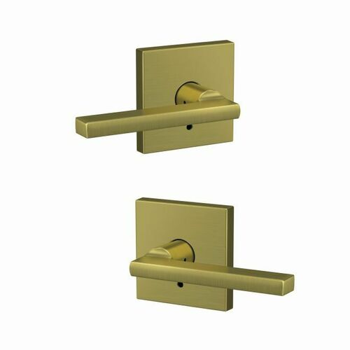 Schlage FC172LAT608COL Latitude Lever with Collins Rose Non Turning Dummy Lock Satin Brass Finish