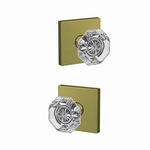 Schlage FC21ALX608COL Alexandria Glass Knob with Collins Rose Passage and Privacy Lock with 16600 Latch and 10027 Strike Satin Brass Finish