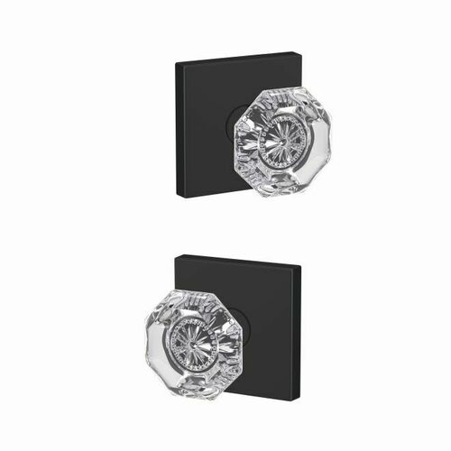 Schlage FC21ALX622COL Alexandria Glass Knob with Collins Rose Passage and Privacy Lock with 16600 Latch and 10027 Strike Matte Black Finish